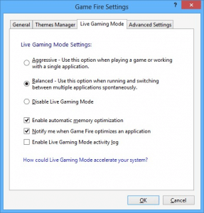 Live Gaming Mode settings