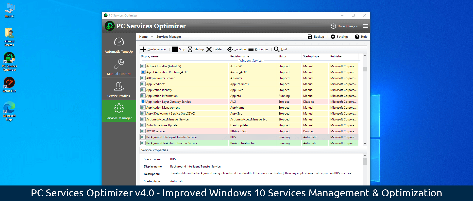 PC Services Optimizer v4 - Improved Windows 10 Services Management and Optimization