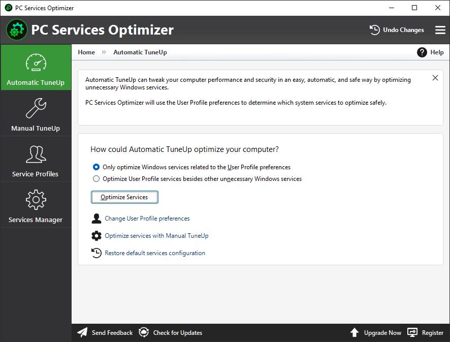 PC Services Optimizer - Tweak Windows Services with a Mouse