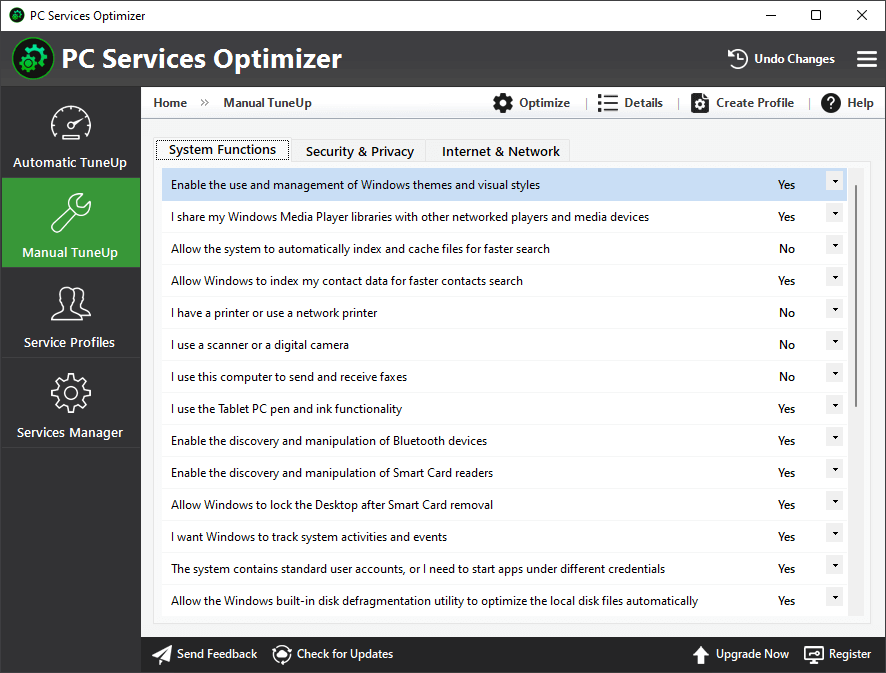 PC Services Optimizer - Tweak Windows Services with a Mouse