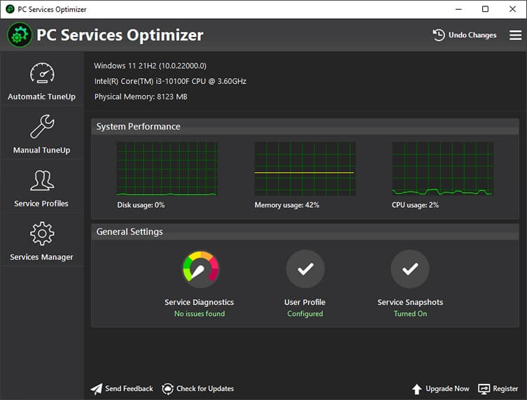 PC Services Optimizer Screen shot