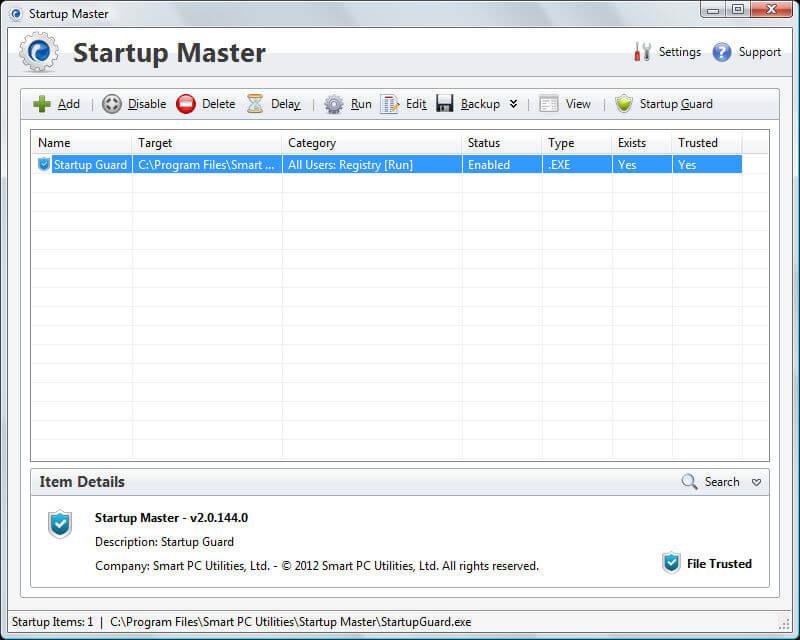 Startup Master - Main Interface