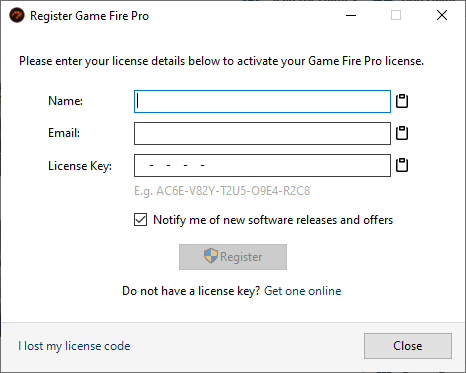 Game Fire License Manager