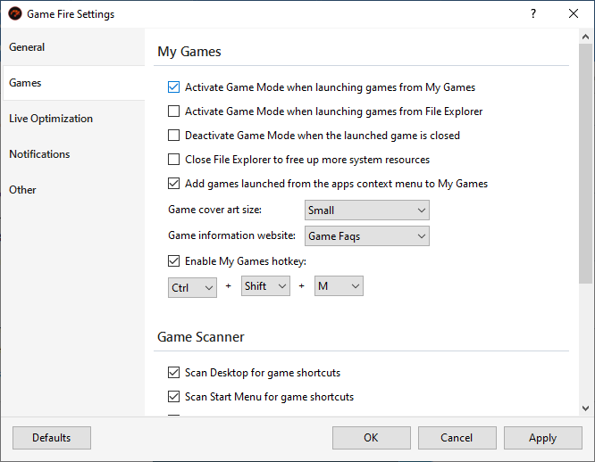 My Games Settings - Game Fire